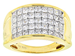 Cubic Zirconia 18k Yellow Gold Over Silver Ring 2.62ctw (1.35ctw DEW)