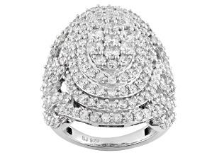 Cubic Zirconia Silver Ring 5.68ctw (2.97ctw DEW)