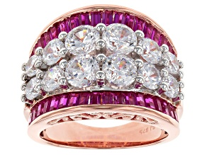 Cubic Zirconia And Synthetic Red Corundum 18k Rose Gold Over Silver Ring 8.82ctw