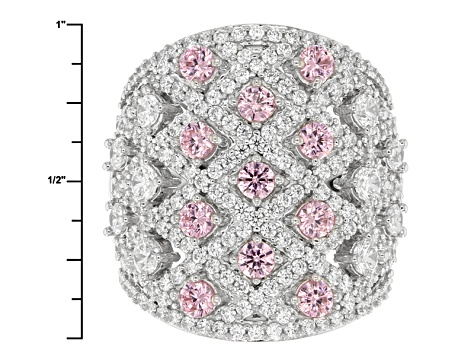 Pink And White Cubic Zirconia Silver Ring 6.26ctw (2.91ctw DEW)