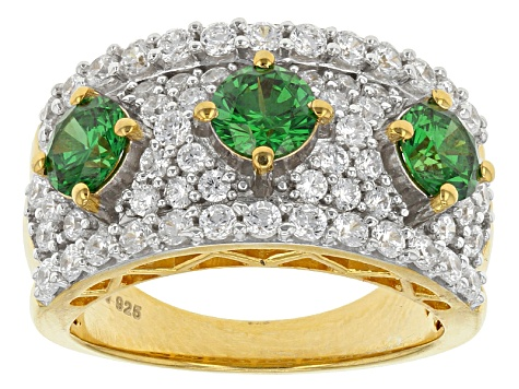 Green And White Cubic Zirconia 18k Yellow Gold Over Silver Ring 4.62ctw