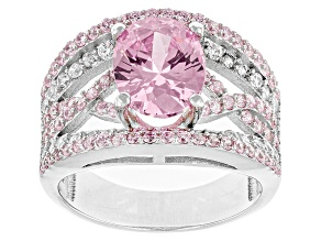 Pink And White Cubic Zirconia Silver Ring 4.38ctw (3.60ctw DEW)