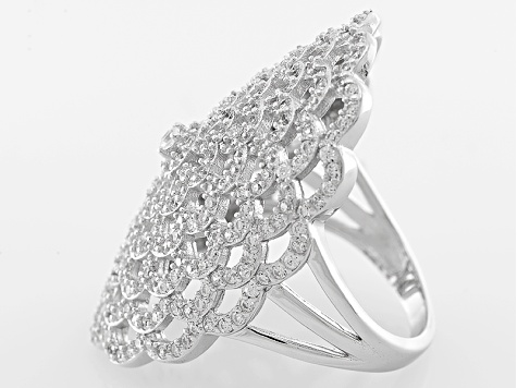 White Cubic Zirconia Rhodium Over Silver Ring 3.09ctw