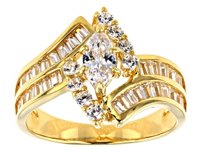 White Cubic Zirocnia 18k Yellow Gold Over Silver Ring 2.38ctw