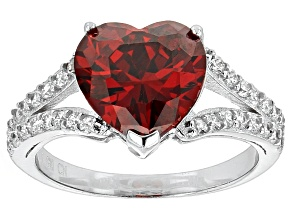 Red And White Cubic Zirconia Rhodium Over Silver Ring 6.07ctw