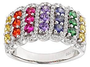 Synthetic Ruby, White Zircon And Multicolor Cubic Zirconia Silver Ring 2.90ctw