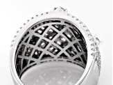 White Cubic Zirconia Rhodium Over Sterling Silver Ring 4.55ctw