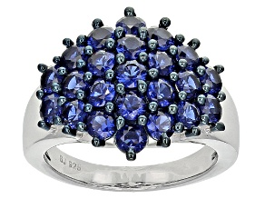 Blue Cubic Zirconia Silver Ring 4.25ctw