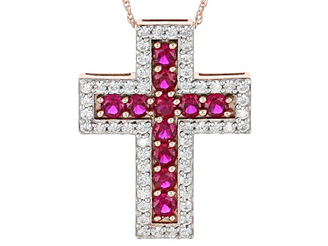 Synthetic Red Corundum And White Cubic Zirconia 18k Rose Gold Over Silver Pendant With Chain 3.21ctw