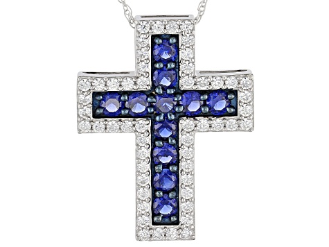 Blue And White Cubic Zirconia Silver Cross Pendant With Chain 3.49ctw