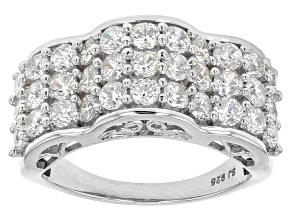 Cubic Zirconia Silver Ring 4.02ctw (1.98ctw DEW)