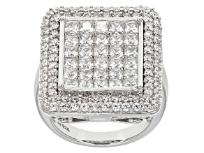 Cubic Zirconia Silver Ring 7.04ctw (4.29ctw DEW)