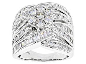 Cubic Zirconia Silver Ring 5.29ctw (3.11ctw DEW)