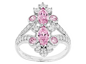 Pink And White Cubic Zirconia Silver Ring 3.24ctw (1.42ctw DEW)