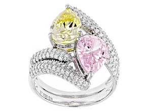 Pink, Yellow And White Cubic Zirconia Silver Ring 7.74ctw (4.27ctw DEW)