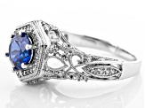 Blue And White Cubic Zirconia Silver Ring 2.28ctw