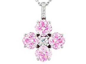 Pink And White Cubic Zirconia Silver Pendant With Chain 8.43ctw (3.57ctw DEW)