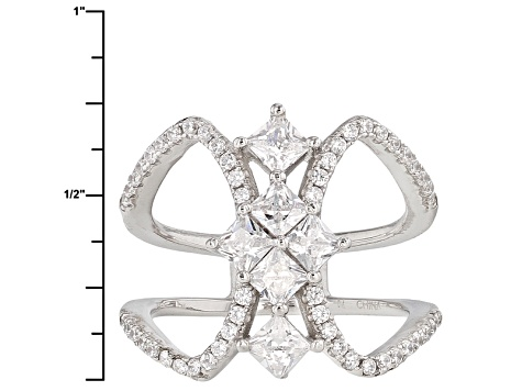 White Cubic Zirconia Rhodium Over Sterling Silver Ring .60ctw