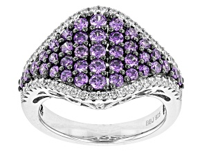 Purple And White Cubic Zirconia Silver Ring 2.14ctw (1.41ctw DEW)