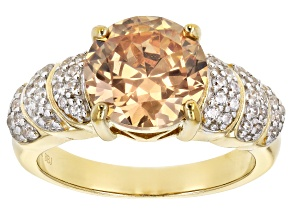 Brown And White Cubic Zirconia 18k Yellow Gold Over Silve Ring 2.57ctw (2.26ctw DEW)