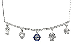 Blue And White Cubic Zirconia Rhodium Over Sterling Silver Charm Necklace 1.22ctw