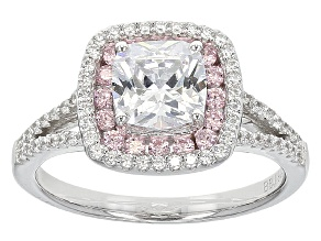 White And Pink Cubic Zirconia Silver Ring 2.64ctw (1.73ctw DEW)