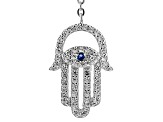 Blue And White Cubic Zirconia Rhodium Over Sterling Silver Necklace 1.57ctw
