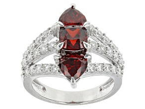 Red And White Cubic Zirconia Rhodium Over Silver Heart Ring 6.04ctw