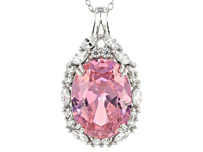 Pink And White Cubic Zirconia Rhodium Over Sterling Silver Pendant With Chain 17.05CTW
