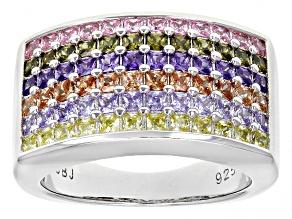 Multicolor Cubic Zirconia Silver Ring 2.52ctw (2.16ctw DEW)
