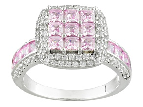 Pink And White Cubic Zirconia Silver Ring 3.05ctw (2.16ctw DEW)