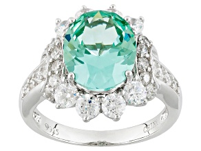 Synthetic Green Spinel And White Cubic Zirconia Silver Ring 5.30ctw