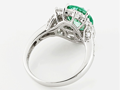 Lab Created Green Spinel And White Cubic Zirconia Silver Ring 5.30ctw