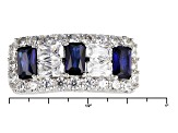 Synthetic Sapphire And White Cubic Zirconia Silver Ring 2.27ctw