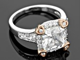 Cubic Zirconia Silver And 18k Rose Gold Over Silver Ring 3.65ctw (3.36ctw DEW)