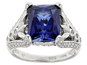 Blue And And White Cubic Zirconia Silver Ring 4.44ctw