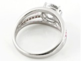 White And Pink Cubic Zirconia Silver Ring 2.14ctw (1.35ctw DEW)