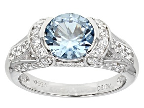 Blue And White Cubic Zirconia Silver Ring 2.68ctw (2.38ctw DEW)
