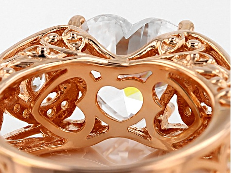 White Cubic Zirconia 18k Rose Gold Over Sterling Silver Heart Ring 6.45ctw