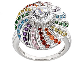 White,Green,Yellow,Orange, Red,Purple,Blue Cubic Zirconia Rhodium Over Silver Ring 5.46ctw