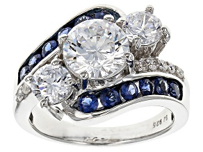 Blue Lab Created Sapphire And White Cubic Zirconia Rhodium Over Sterling Silver Ring 6.37ctw