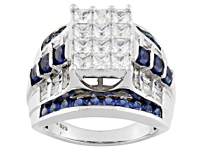 White And Blue Cubic Zirconia Silver Ring 5.23ctw
