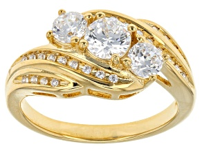 Cubic Zirconia 18k Yellow Gold Over Silver Ring 1.82ctw (1.09ctw DEW)