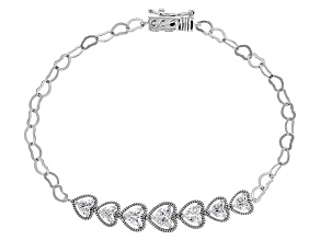 White Cubic Zirconia Rhodium Over Silver Heart Bracelet 3.49ctw