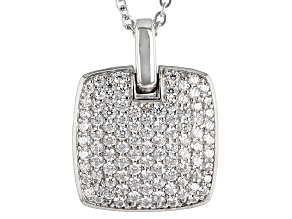 Cubic Zirconia Silver Pendant With Chain 1.49ctw (.81ctw DEW)