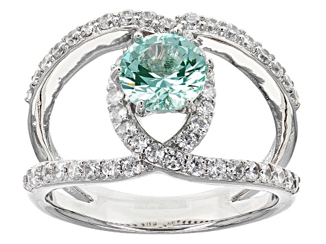 Synthetic Green Spinel And White Cubic Zirconia Silver Ring 2.00ctw
