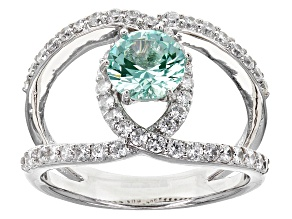 Lab Created Green Spinel And White Cubic Zirconia Silver Ring 2.00ctw