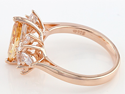 Brown And White Cubic Zirconia 18k Rose Gold Over Silver Ring 3.10ctw (2.70ctw DEW)
