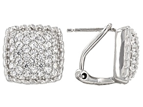 Cubic Zirconia Rhodium Over Sterling Silver Earrings 1.41ctw