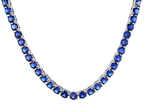 Synthetic Blue Spinel Rhodium Over Sterling Silver Tennis Necklace 27.72ctw